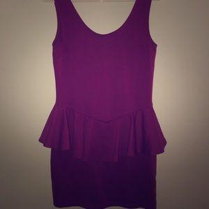 Plum colored peplum mini dress